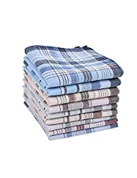 Houlife 100% Cotton Men's Stripe Soft Checked Pattern Handkerchief 6 Pieces (Multi, 9 Pieces)
