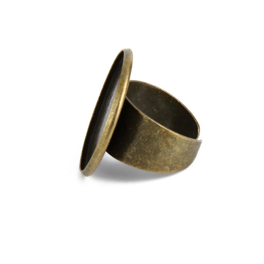 Sharplace 20 Piezas Anillo Ajustable de Bricolaje Bisel En Blanco Base para 25 mm Cabochon Craft Ring