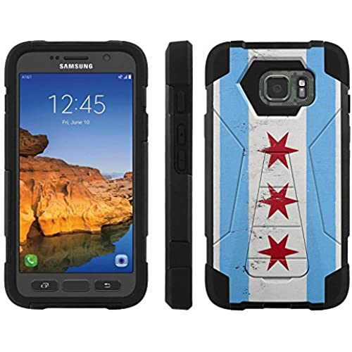 AT&T [Galaxy S7 Active] ShockProof Case [ArmorXtreme] [Black/Black] Hybrid Defender [Kickstand] - [Chicago Flag] for Samsung Galaxy [S7 Active] Sales