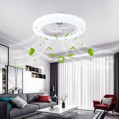 BEHWU Ventilador de techo Lámpara de techo, moderna LED Ventilador De Techo Control remoto de correa regulable ...