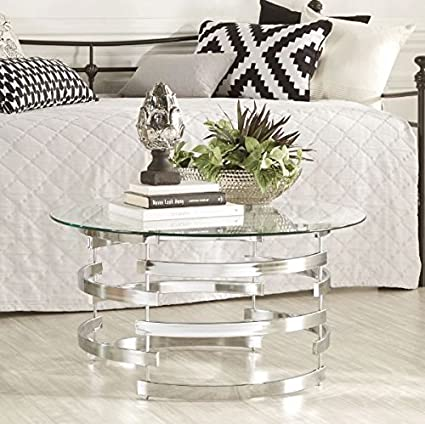 Round Glass Coffee Table End Table White Cocktail Table Furniture Table Top Drum  Coffee Table TV