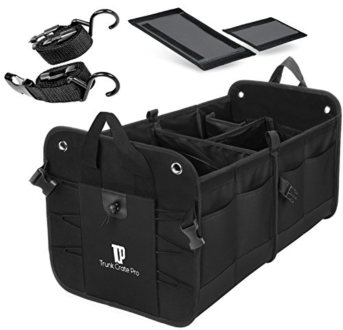 Trunkcratepro Collapsible Portable Multi Compartments Trunk Organizer, Black (Guide Front Plate)