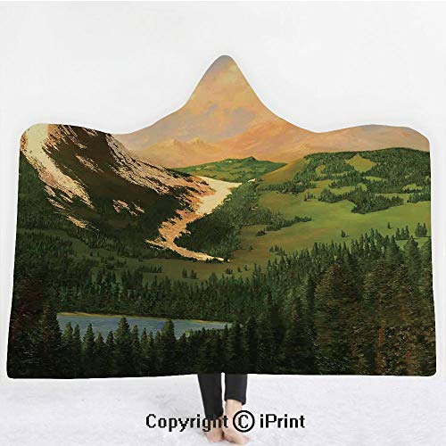 Country Decor 3D Print Soft Hooded Blanket Adult Premium Throw Blanket,Lightweight Microfiber,Rural Scenery in the Valley with Cloudy Sky on Northern Lands Lake Mod Nature Painting,All Season for Adul