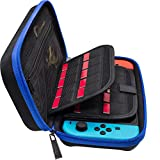[Updated] Nintendo Switch Deluxe Travel Carrying Case with 19 Game Card Holders and Large Accessories Pouch - Blue/Black