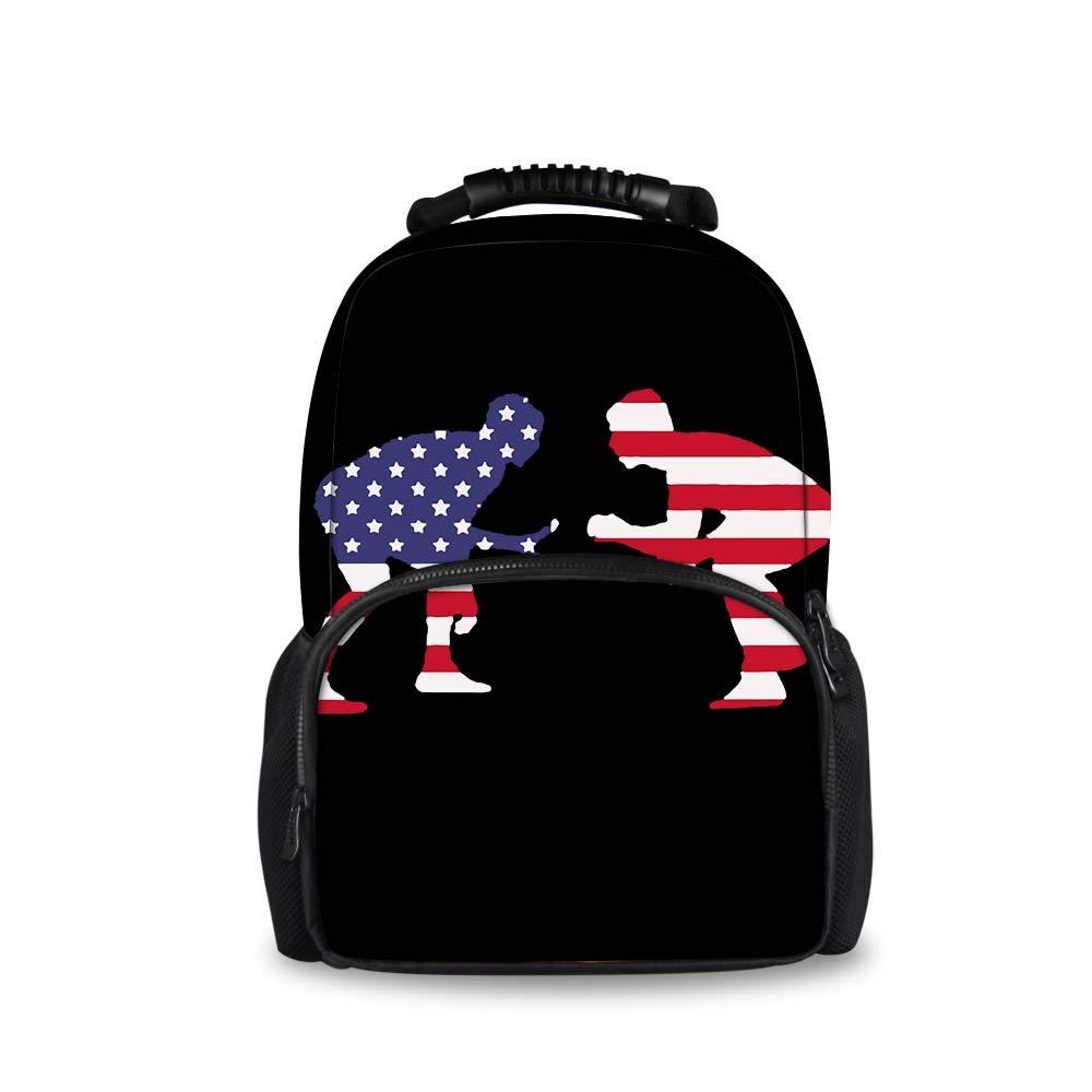 JACINTAN American Wrestling Proud Printed Children School Bags Blue Kids Backpack