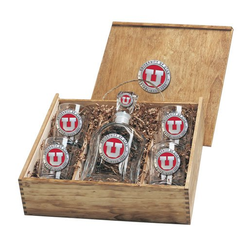 Utah Utes Capitol Decanter Box Set by Heritage Pewter