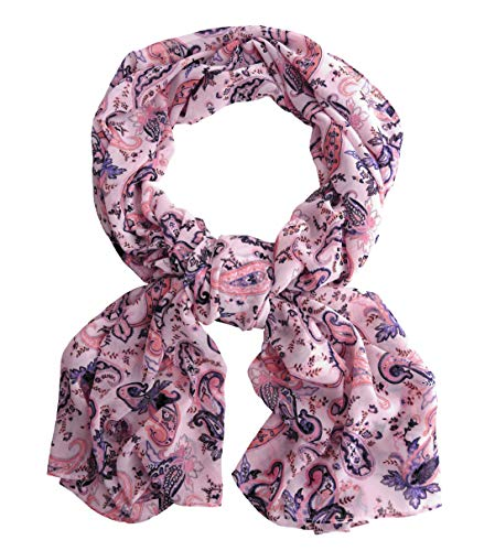 School Womens Box (Pink Purple Paisley Wide Long Scarf for Women Evening Wrap With Gift Box Formal Shawl Lightweight Cocktail Chiffon Stoles Christmas Mother's day 77