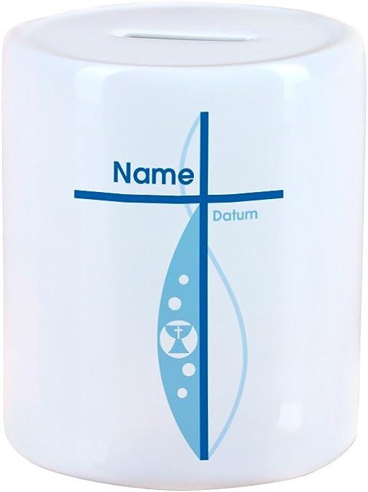 Striefchen/® Spardose zur Taufe//Geburt//Kommunion//Konfirmation eines Kindes mit Namen und Geburtsdatum als Geldgeschenk Kreuz Jungen