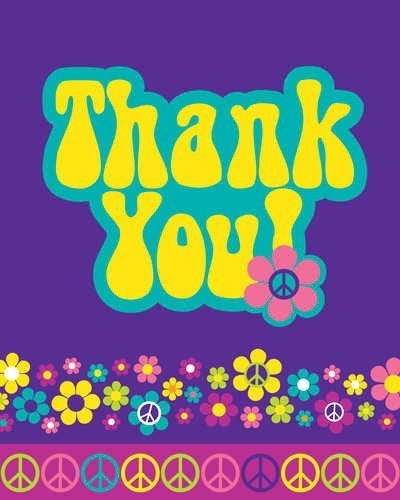- Groovy Girl Party Thank You Cards