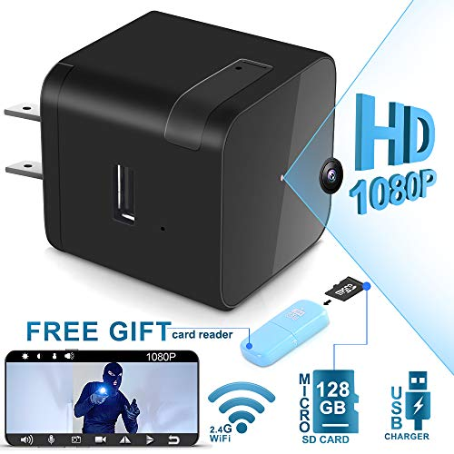 Touyinger 1080P Wifi Mini Spy Hidden Camera – USB Wall Charger Adapter Spy Camera With Night Vision- Remote View with eLook APP – Home Security Nanny Camera – Motion Detection – Real Time Surveillance