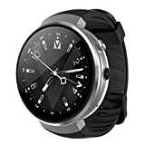 LEMFO LEM7 4G Smart Watch Android 7.0 With Sim 2MP Camera GPS WIFI MTK6737 1GB + 16GB Smartwatch Phone Men Wearable Devices (2018) (silver black)