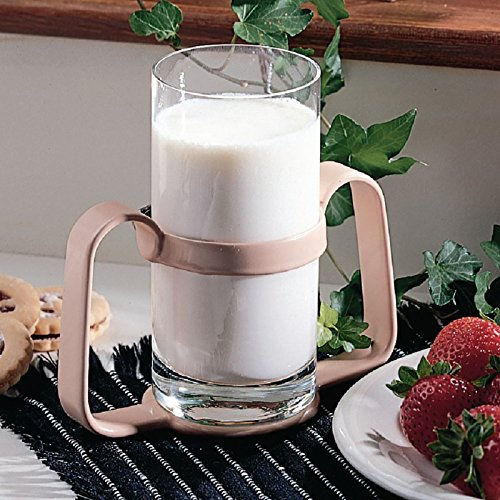 Sammons Preston Bilateral Glass Holder, 2 Heavy Duty Steel Handles Coated in Plastic Provide Sturdy Hold, Adjustable Clamp Fits All Cup Sizes, Drinking Aid for Those with Weak Grip & Poor Coordination by Sammons Preston (Image #3)