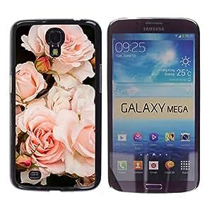 Caucho caso de Shell duro de la cubierta de accesorios de protección BY RAYDREAMMM - Samsung Galaxy Mega 6.3 I9200 SGH-i527 - Light Roses Composition Tree