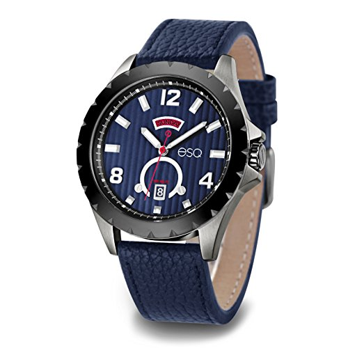 ESQ Men's Casual Stainless Steel Analog-Quartz Watch with Leather-Pig-Skin Strap, Blue, 21 (Model: 37ESQE07101A)