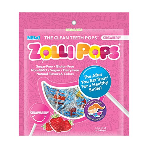 Zollipops The Clean Teeth Pops, Anti Cavity Lollipops, STRAWBERRY, 15 Count