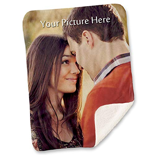 NIWAHO Custom Photo Sherpa Blanket with Your Own Printing, Double-Deck Thickening Lambs Wool (31
