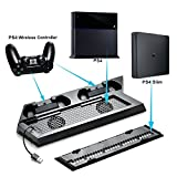 Agptek Multi-Functional PS4 Stand, Upgraded PS4 Slim / PS4 Vertical Stand with Cooling Fan, Dual Controller Charging Station & 3 Extra USB Ports - Black