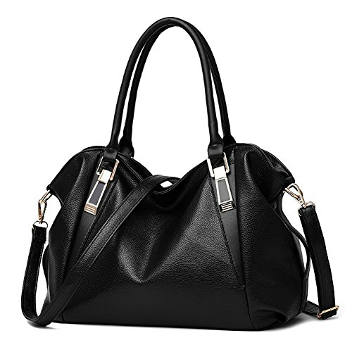 Women's Hobo OVOV Bags PU Large Black for Women's Handbags Bags Top Shoulder Handle Ladies Leather FTxwxCrdIq