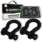 """Rhino USA D Ring Shackle (2 Pack) 41,850lb Break Strength – 3/4"""" Shackle with 7/8 Pin for use with Tow Strap, Winch, Off-Road Jeep Truck Vehicle Recovery, Best Offroad Towing Accessories (Gloss)…"""
