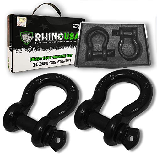 Rhino USA D Ring Shackle (2 Pack) 41,850lb Break Strength - 3/4 inch Shackle with 7/8 inch Pin for use with Tow Strap, Winch, Off-Road Jeep Truck Vehicle Recovery, Best Towing Accessories(BLACK GLOSS)