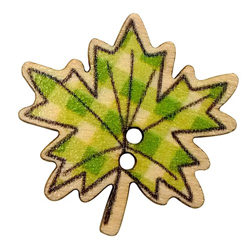 Maple Leaf Button (Colorido 50Pcs Maple Leaves Wooden Buttons DIY Sewing Needlework Scrapbooking Craft)