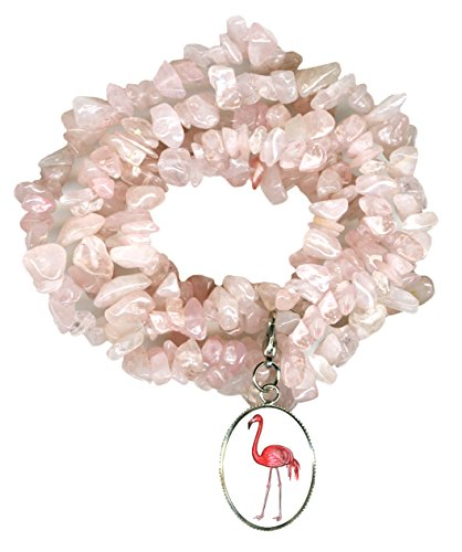 Gw1 Costumes (Pink Flamingo Charm Clip Rose Quartz Gem Wrap Bracelet or Necklace)