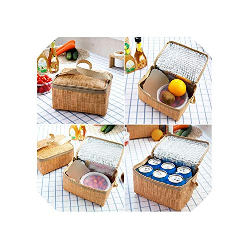 Outdoor Camping Picnic Bag Wicker Picnic Basket Case Thermal Lunch Storage Box,Khaki
