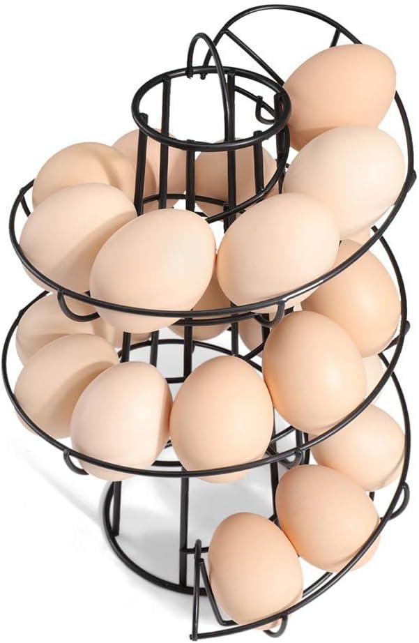 yeehao Silver Egg Holder Stand Modern Spiraling Dispenser Storage Rack Save Space for Kitchen