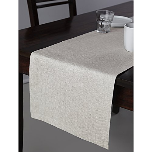 100% Pure Linen Table Runner Natura, Natural Fabric Handcrafted Rectangular Table Runner, 14 x 72 Inch White Natural Table Runner by Solino Home