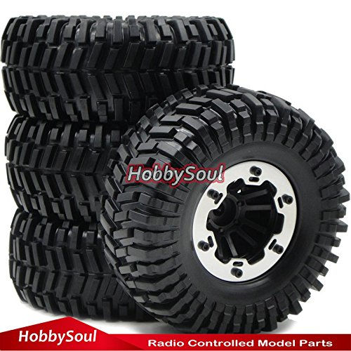 RC 2.2 Beadlock Wheels & 125mm Crawler Soft Tires, 4 pieces,for RC 4WD Axial (4wd Tires Wheels)
