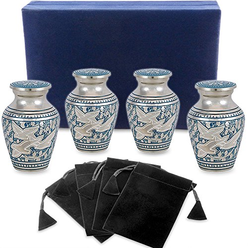 Wings of Love Mini Keepsake Urns For Human Ashes - Set of 4 - Beautiful and Timeless Find Comfort Everytime You Look At These Small High Quality Cremation Urns - With Velvet Case and 4 Velvet Bags