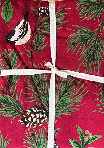 April Cornell Fabric Holiday Tablecloth Pine Boughs and Cones with Berries and Birds Green Brown Tan Cream on Red - 70 Inches Round