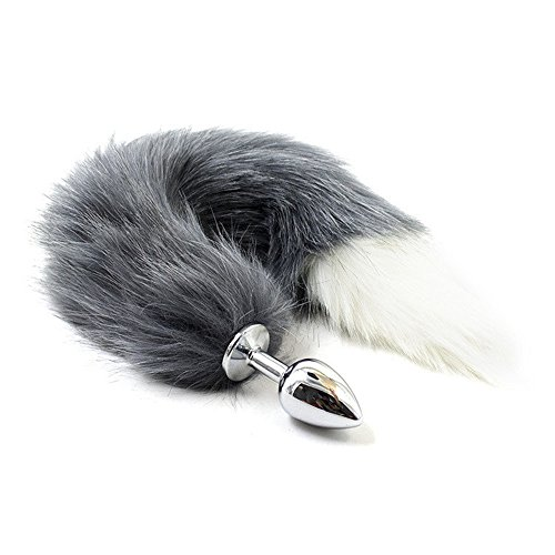 Stainless Steel Faux Fur Tail Plug Fancy Dress Butt Insert Sexy Toy Men Women Gay Roleplay Cosplay Gray + white by FasterS