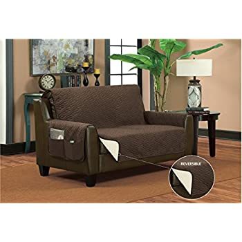 Bella Kline Reversible SOFA Furniture Protector, With 2 Storage Pockets    Mocha / Tan