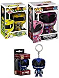 mighty morphin armored red ranger - Power Rangers Funko Pop! Pack Figures Pink #397 Movies Action Hero & Yellow #362 Mighty Morphin Television Edition + Pocket Pop Blue Keychain