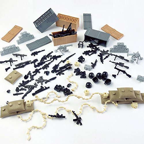 Custom Military Army Weapons and Accessories Set Compatible Major Brands ,Minifigure Accessories - Hats, Weapons, Tools, Modern Assault Pack Military Building Blocks (Set Accessory Pack)
