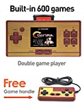 CZT 2.6 Inch Screen Classic FC Pocket Retro Video Game Console Handheld Game Console Built -in 600 Games Can take the joysticks Double player (DarkRed)