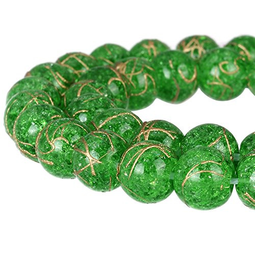 RUBYCA Round Crackle Druk Czech Crystal Splash Glass Beads for Jewelry Making 8mm Strand (Green Lampwork Beads)
