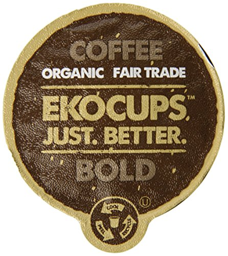 EKOCUPS Artisan Organic Undaunted Coffee, Dark roast, in Recyclable Single Serve Cups for Keurig K-cup Brewers, 40 count