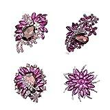 Ezing 4pcs Purple Crystal Rhinestone Brooches For Wedding Bouquet Decoration