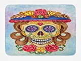Ambesonne Day of The Dead Bath Mat, Cute Lady Mommy Skull Head with Flower Hat Spanish and Mexican Art Print, Plush Bathroom Decor Mat with Non Slip Backing, 29.5 W X 17.5 W Inches, Multicolor