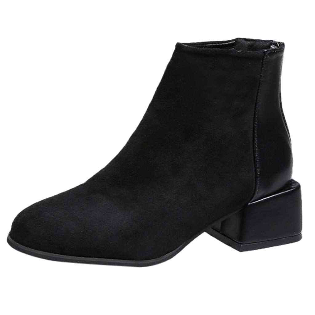Redacel Fashion Women Suede Square Heel Leather Solid Color Short Booties Round Toe Shoes for Girl(39,Black by Redacel