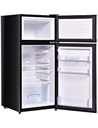 Black Double Doors Compact Mini Refrigerator 3.4 Cu. Ft. Adjustable Glass Shelf Freezer Compartment Cooler Fridge Home Kitchen Hotel Office Dorm Wet Bars Apartment Space Saving Appliance Sleek