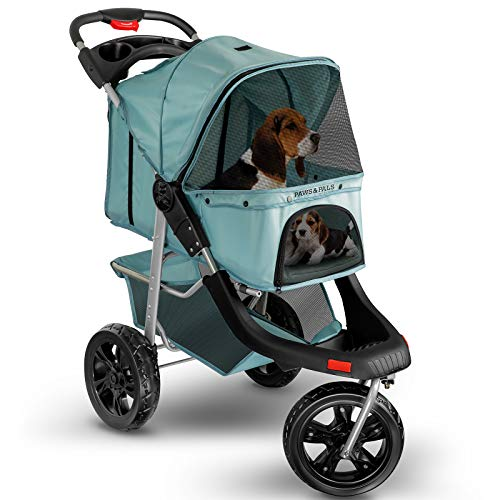 Dog Stroller for Cat and Dog - Deluxe 3-Wheel Pet Strollers for Small and Medium Cats, Dogs, Puppy - Blue