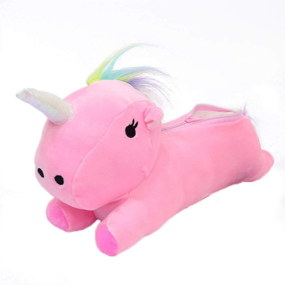 Cute 3D Unicorn Soft Plush Pencil Case Pencil Holder Cosmetic Pouch Bag Students Stationery Middle School Office Supplies Pencil Box Pen Storage Coin Organizer Gift for Kid Girl,Pink