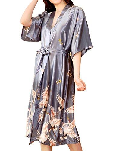 Aensso Women's Satin Robe Long Kimono Bathrobe Short Sleeve V-neck Nightgown (Print Nightgown Satin)