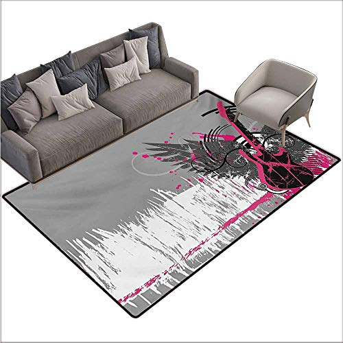 Inner Door Rug Music Guitar and Wings in Sketchy Grunge Background Emo Rock Trippy Illustration Durable W70 xL106 Dimgrey Hot Pink