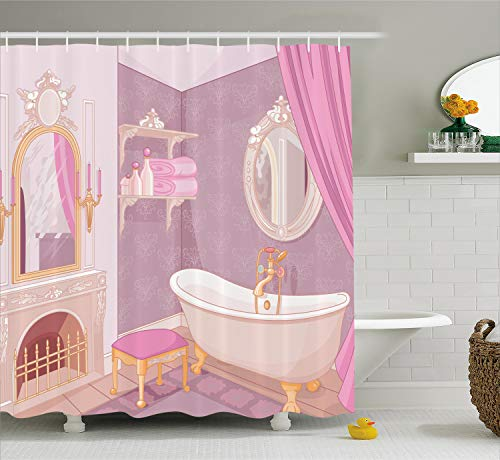 Ambesonne Teen Girls Decor Collection, Fancy Bathroom in The Palace of The Princess with Bathtub Cabinet Mirror Image Print, Polyester Fabric Bathroom Shower Curtain Set with Hooks, Pink Beige ()