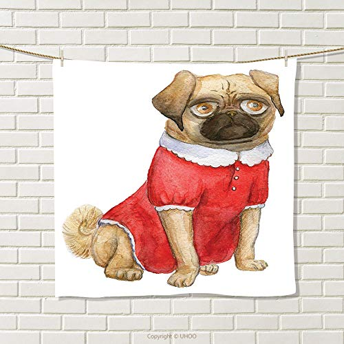 smallbeefly Pug Hand Towel Cute Dog in Red Dress Animal Cartoon Style Design Funny Pet Picture Print Quick-Dry Towels Pale Brown Red Brown Size: W 14