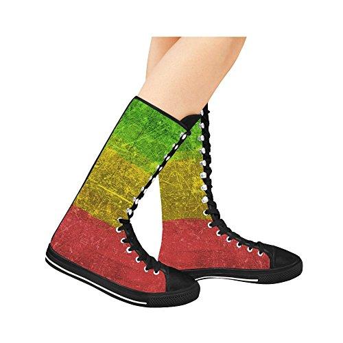 D-story Flag Lace Up Tall Punk Dancing Canvas Botas Largas Zapatillas Zapatos Para Mujer